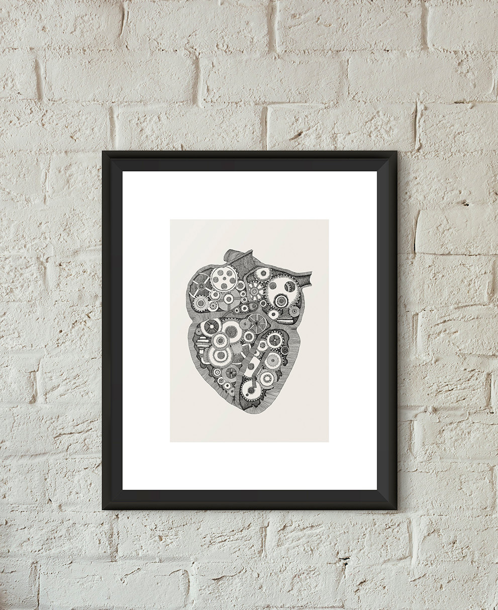 Drawn steampunk heart Illustration Poster Steampunk Heart Drawn