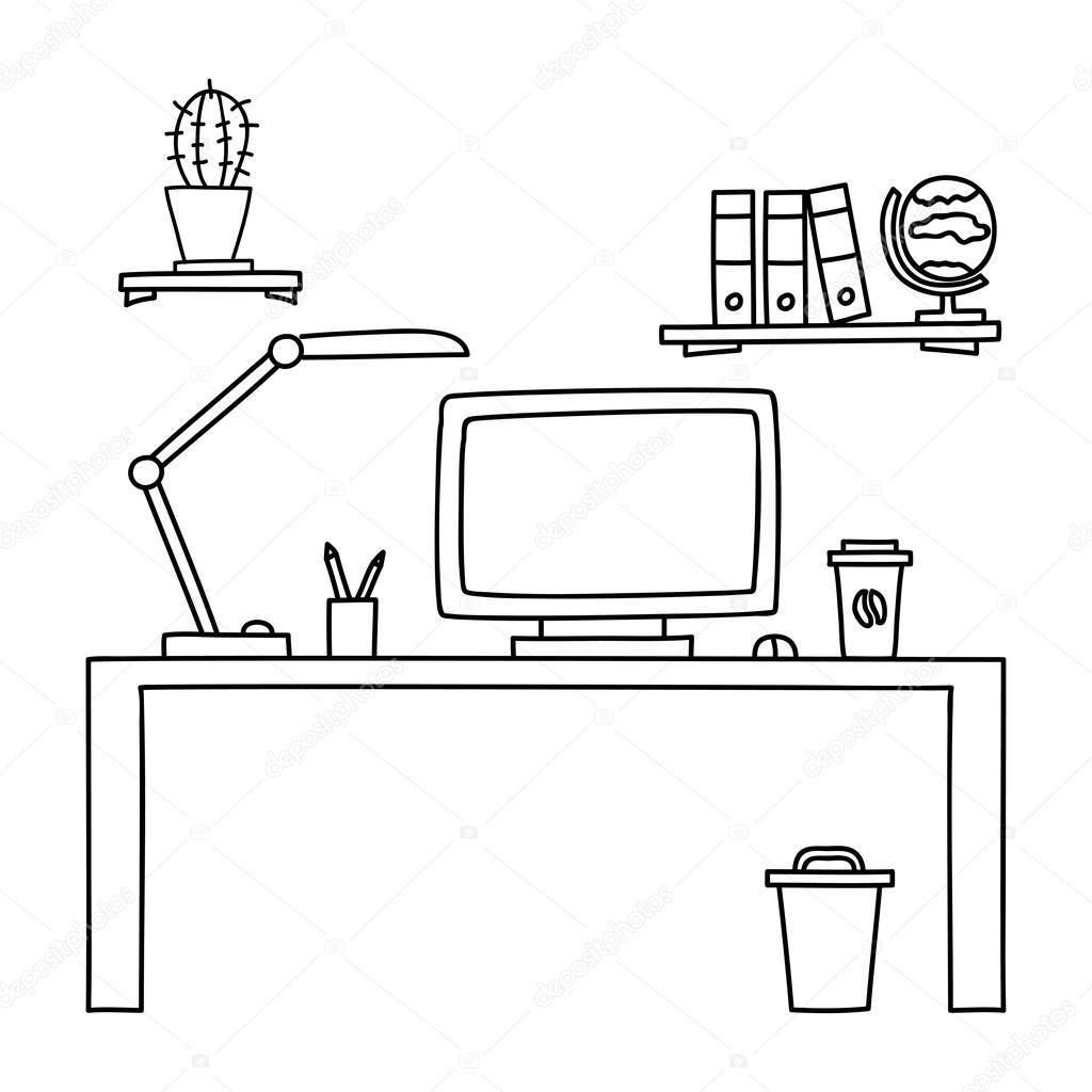 Drawn office black and white Clipart Desk Computer In A
