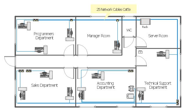Drawn office blueprint Single LAN window Floor Network