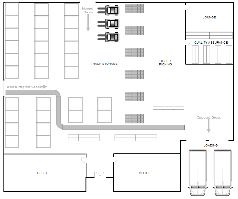 Drawn office blueprint design Download Warehouse Software Layout Design
