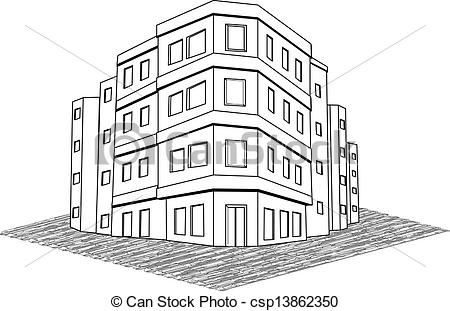 Drawn office building line Office real tenement of building