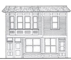 Drawn office building line Hern Klondike Store Line conjoined