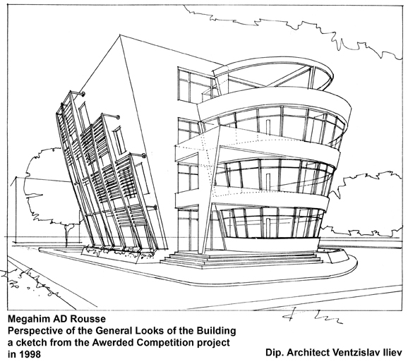 Drawn office building line Fragment Entrance Main EUMiesAward
