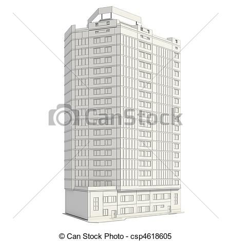 Drawn office building line Building construction building 3D of