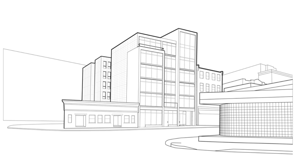 Drawn office building line Property linedrawing — home Evergreen