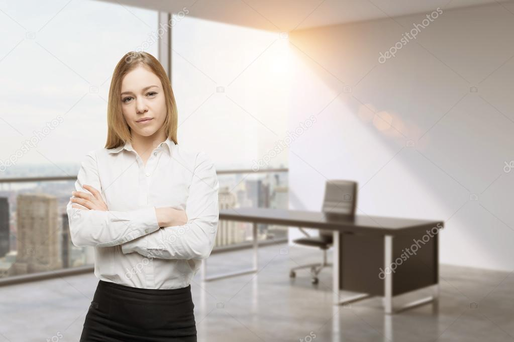 Drawn office ceo Crossed the beautiful office lady