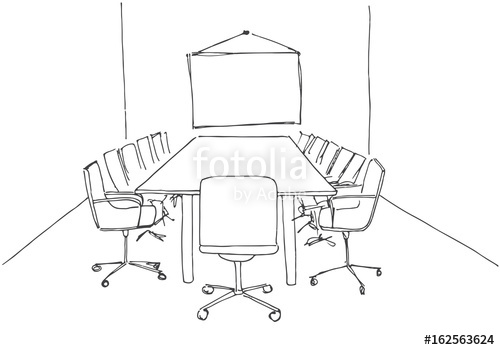 Drawn office conference Desk image free in Fotolia