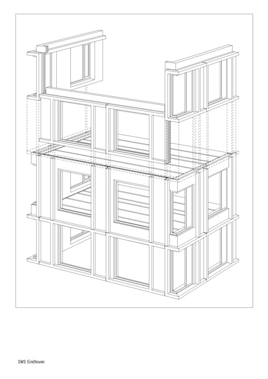 Drawn office contractor University Axonometric  Student Office
