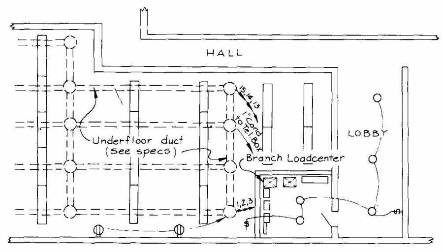 Drawn office electrical Building underfloor showing large of