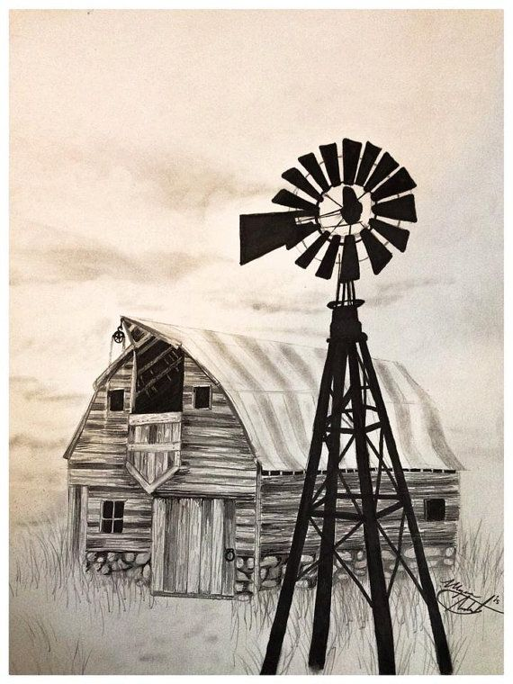 Drawn windmill old Windmill Farm Barn art Pinterest