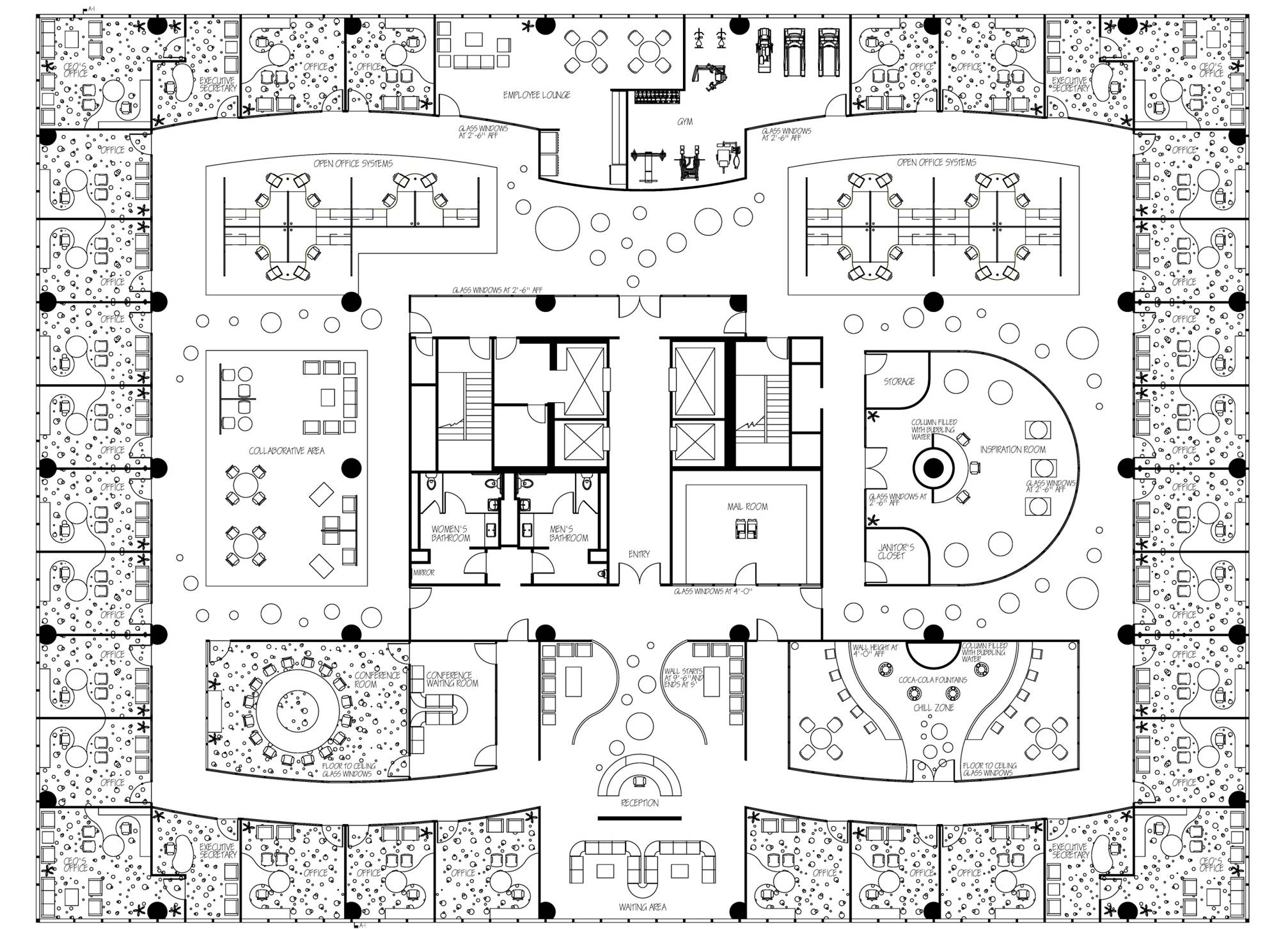 Drawn office floor plan design Office glubdubs By Home Contemporary