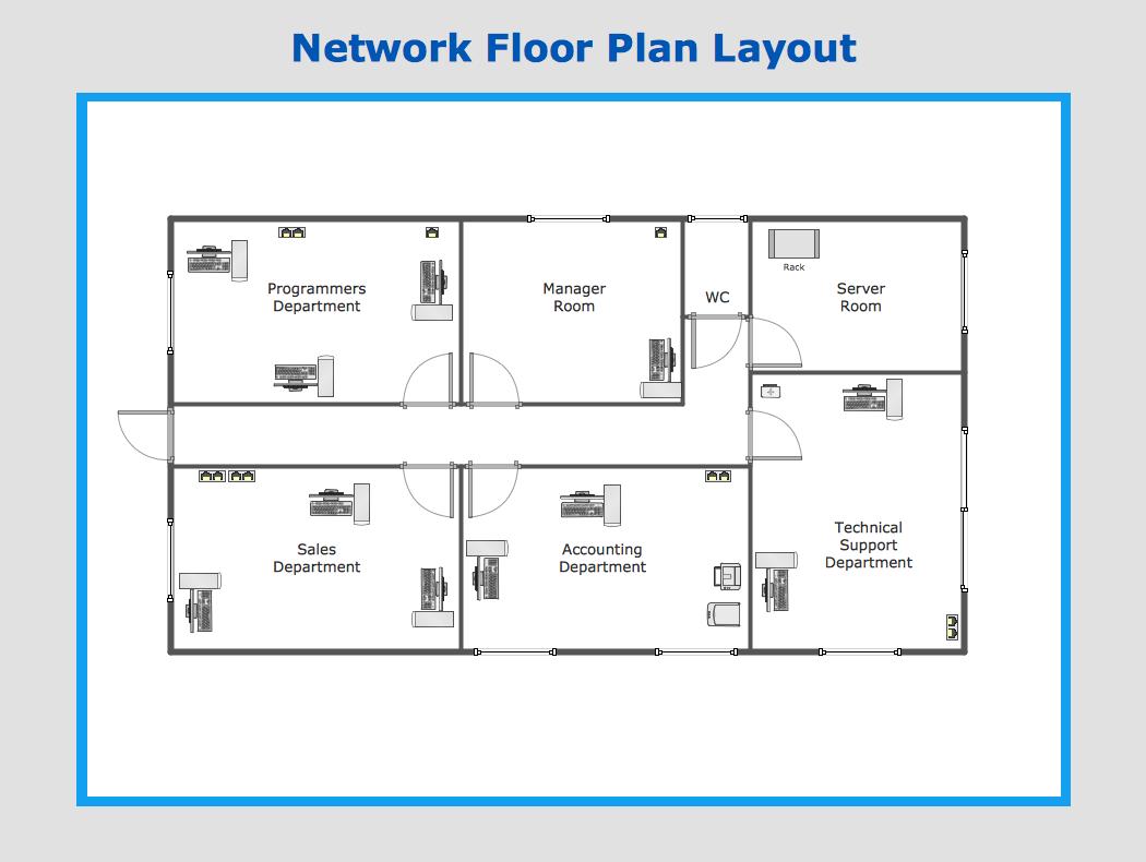 Drawn office floor plan design Layout elements solution Plans Network