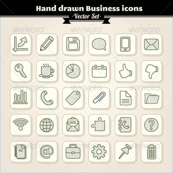 Drawn office hand drawn GraphicRiver and Icons Elements Web
