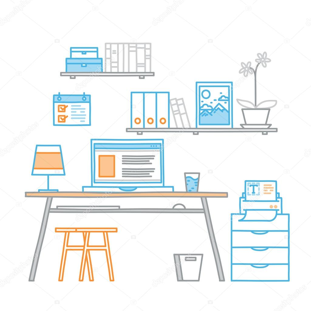 Drawn office home office Style linear workspace drawn work