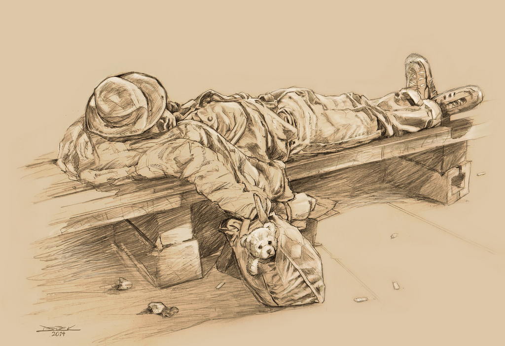 Drawn office homeless child – guy Pencil homeless PopRelics