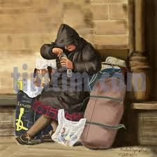 Drawn office homeless child And emotions draw of children