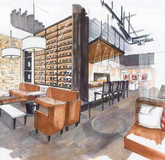 Drawn office interior design Sketches Pinterest Architecture DrawingInterior ideas