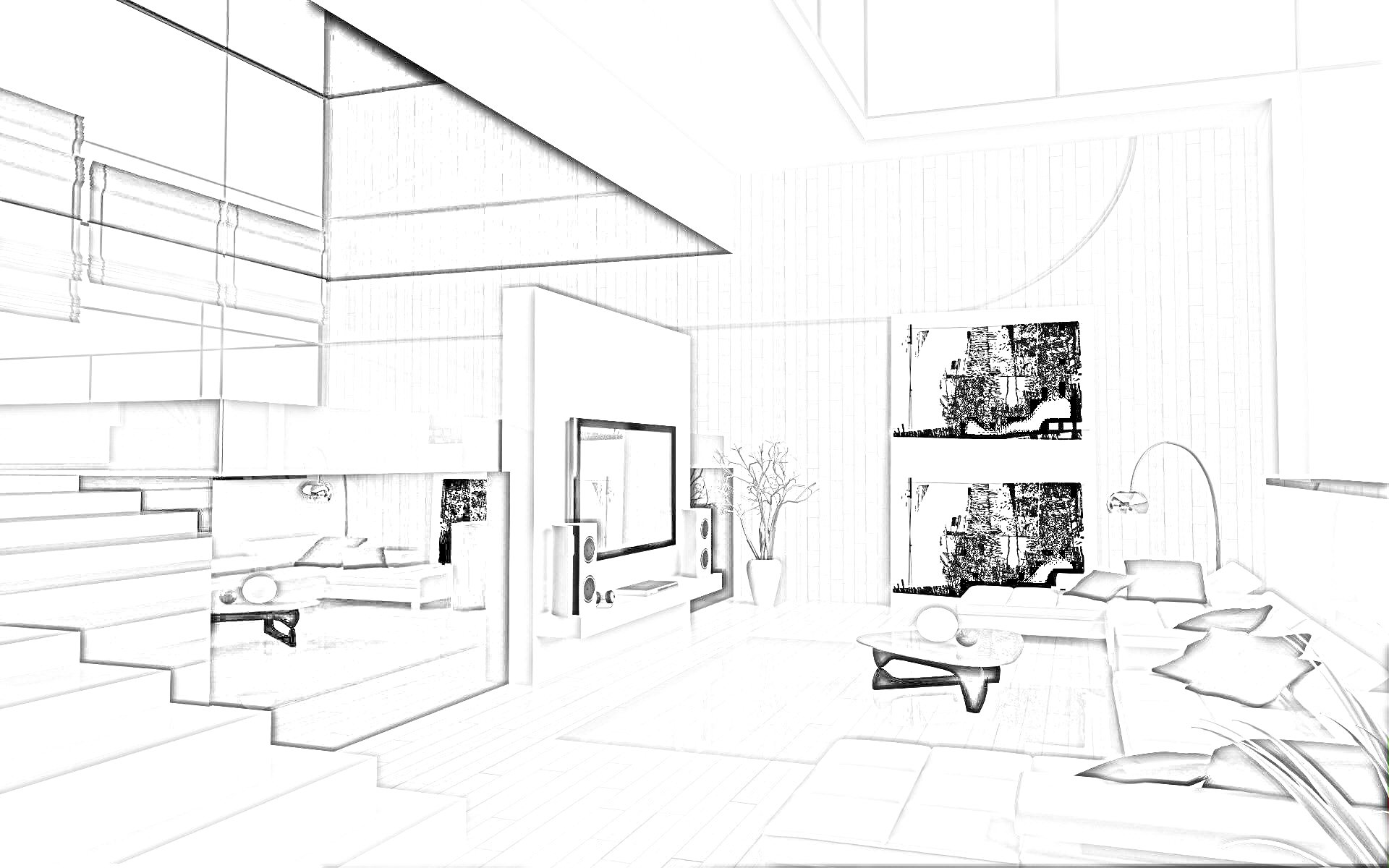 Drawn office interior planning Interior  Images Sketches Images
