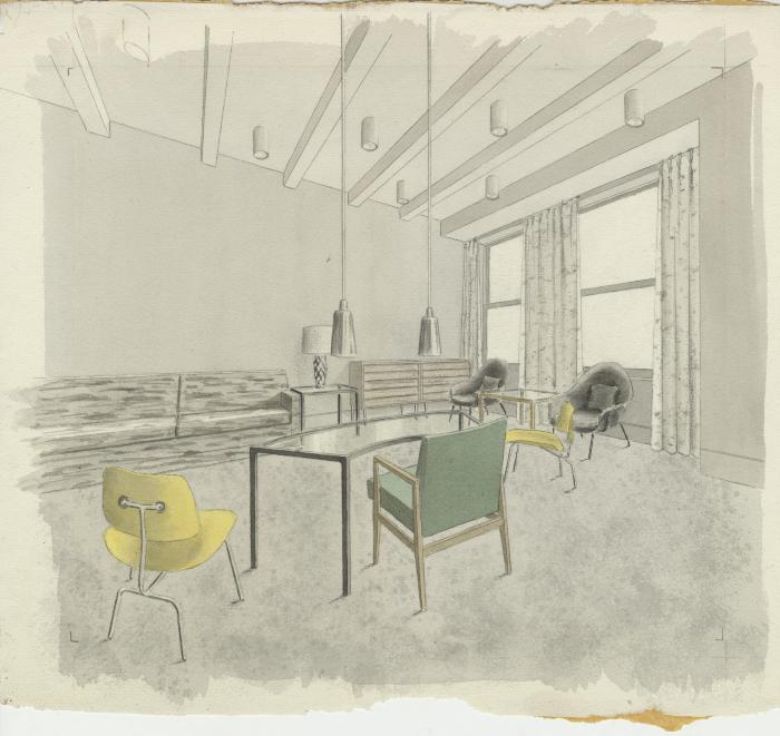 Drawn office interior rendering Year ➔ yellow Interior and