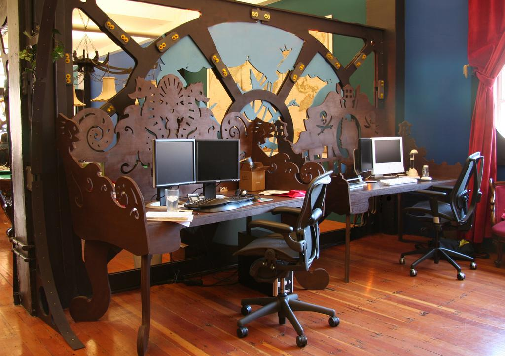 Drawn office interior space So Steampunk We and desks