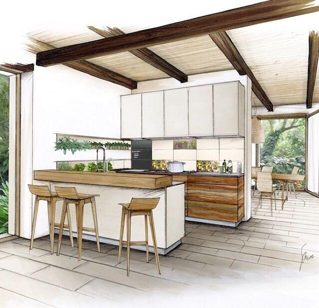 Drawn office interior space Architecture Más Interior Interior sketch