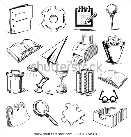 Drawn office line drawing Office #vector #Hand #sketch #collection