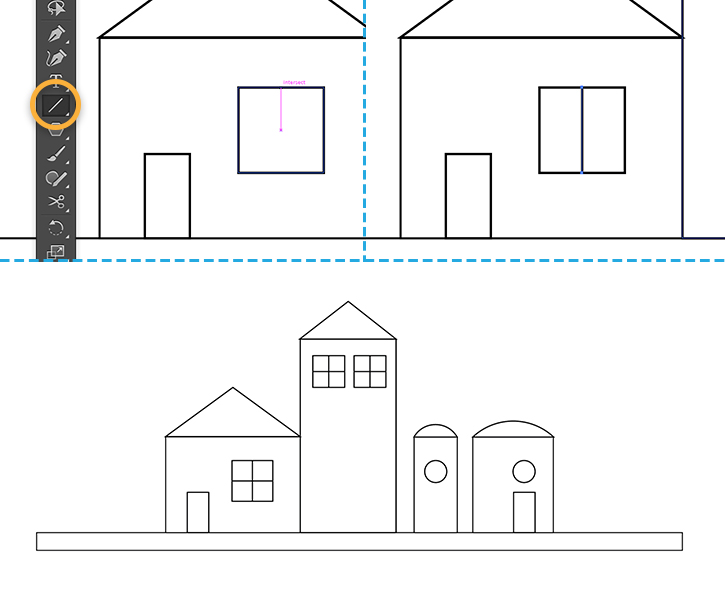 Drawn office line drawing Illustrator buildings How Illustrator CC