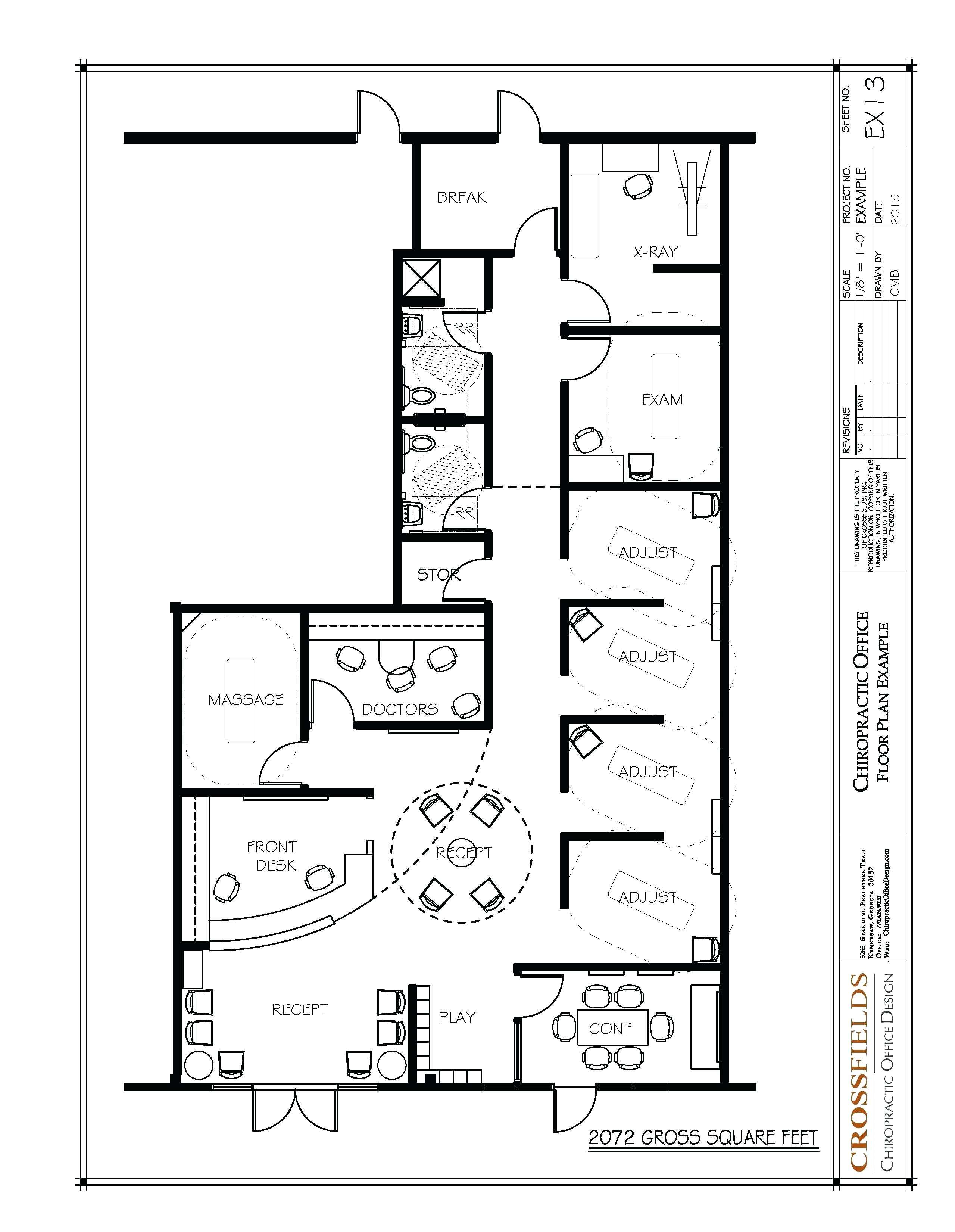 Drawn office modern Plan Full  Chiropractic Small