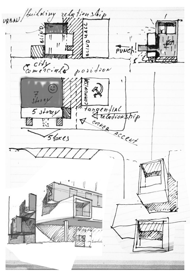 Drawn office modern building Sketches on Pin Building Architecture