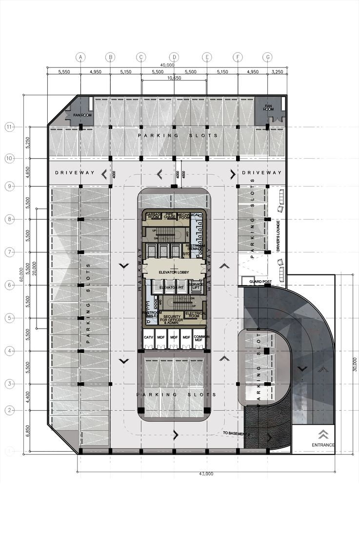 Drawn office modern building Building plans Design rise Office