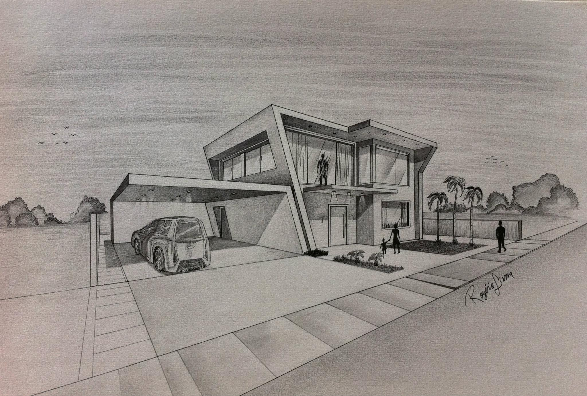 Drawn bulding  creative Simple Design House New Sketch