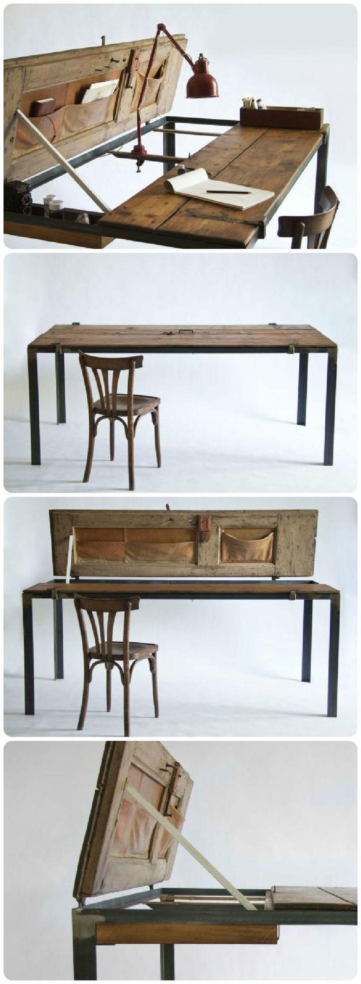 Drawn office office desk Reclaimed desk on Wood Furniture