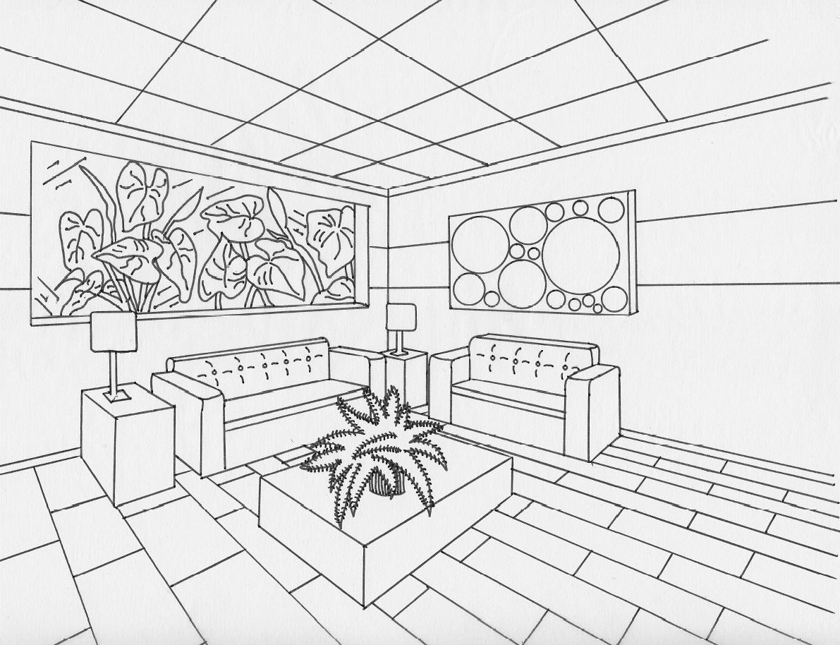 Drawn office one point perspective Examples ART 2 ELEMENTS point