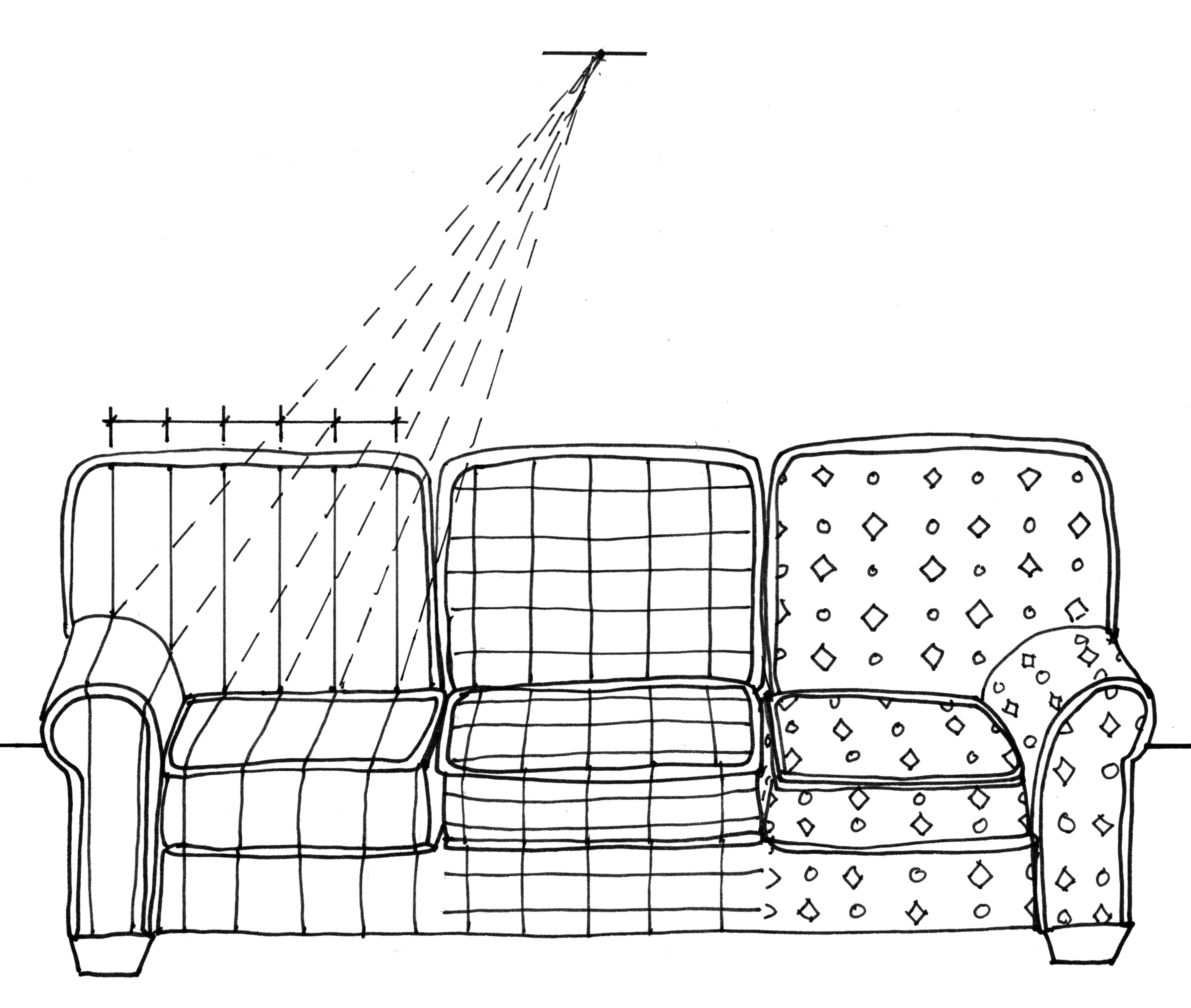 Drawn office one point perspective Sofa demonstrating a has Here
