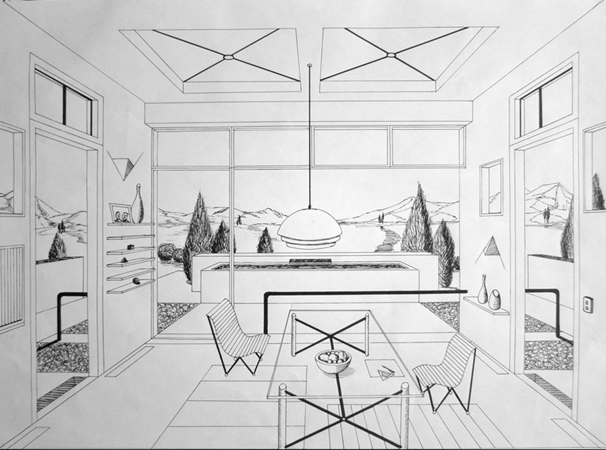 Drawn office one point perspective 441 kB Google perspective Incredible