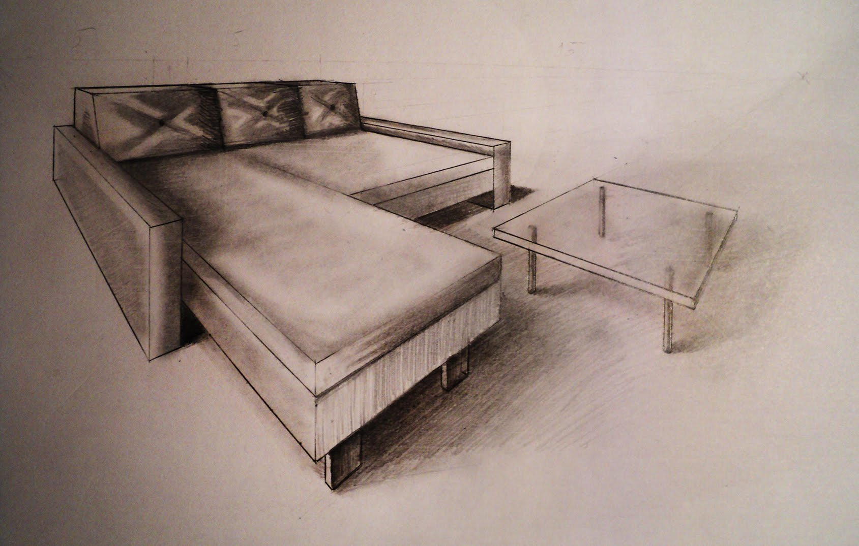Drawn sofa architectural drawing Coffee to perspective YouTube Two