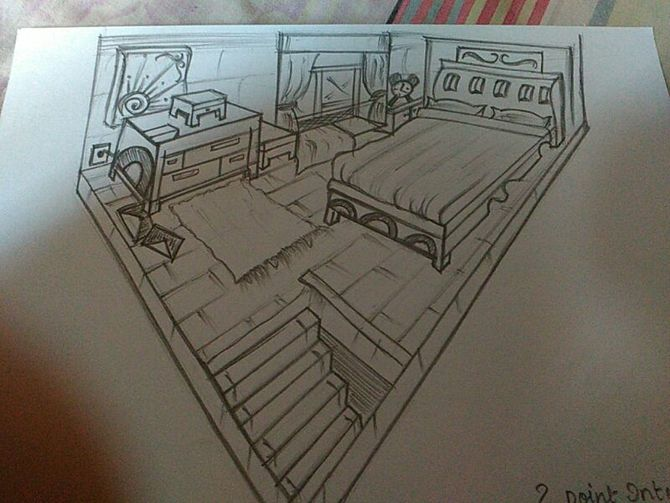 Drawn office one point perspective Point Perspective: Uploaded 10 1