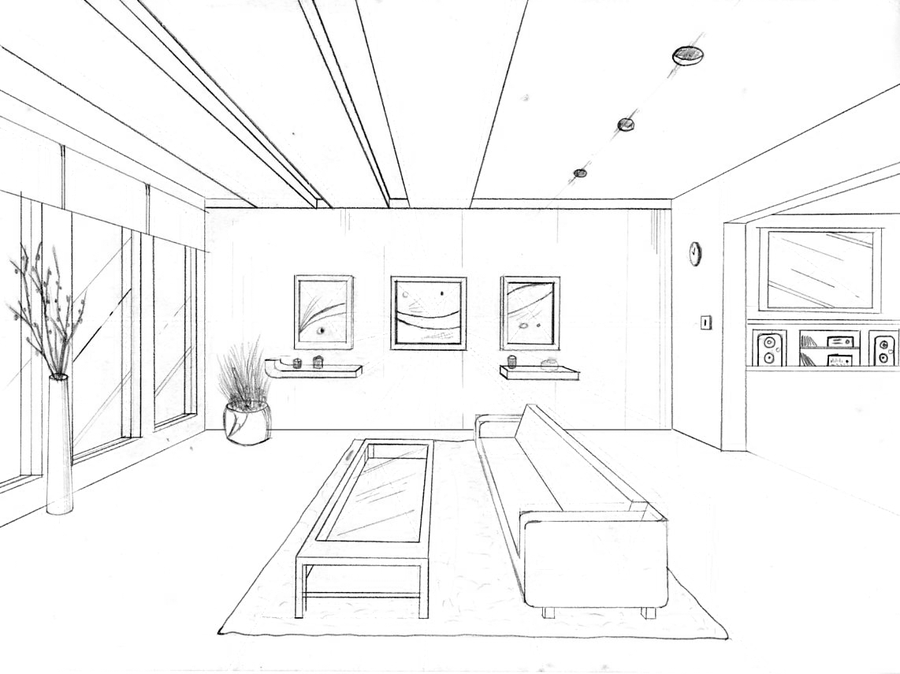 Drawn room perspective  point perspective room living