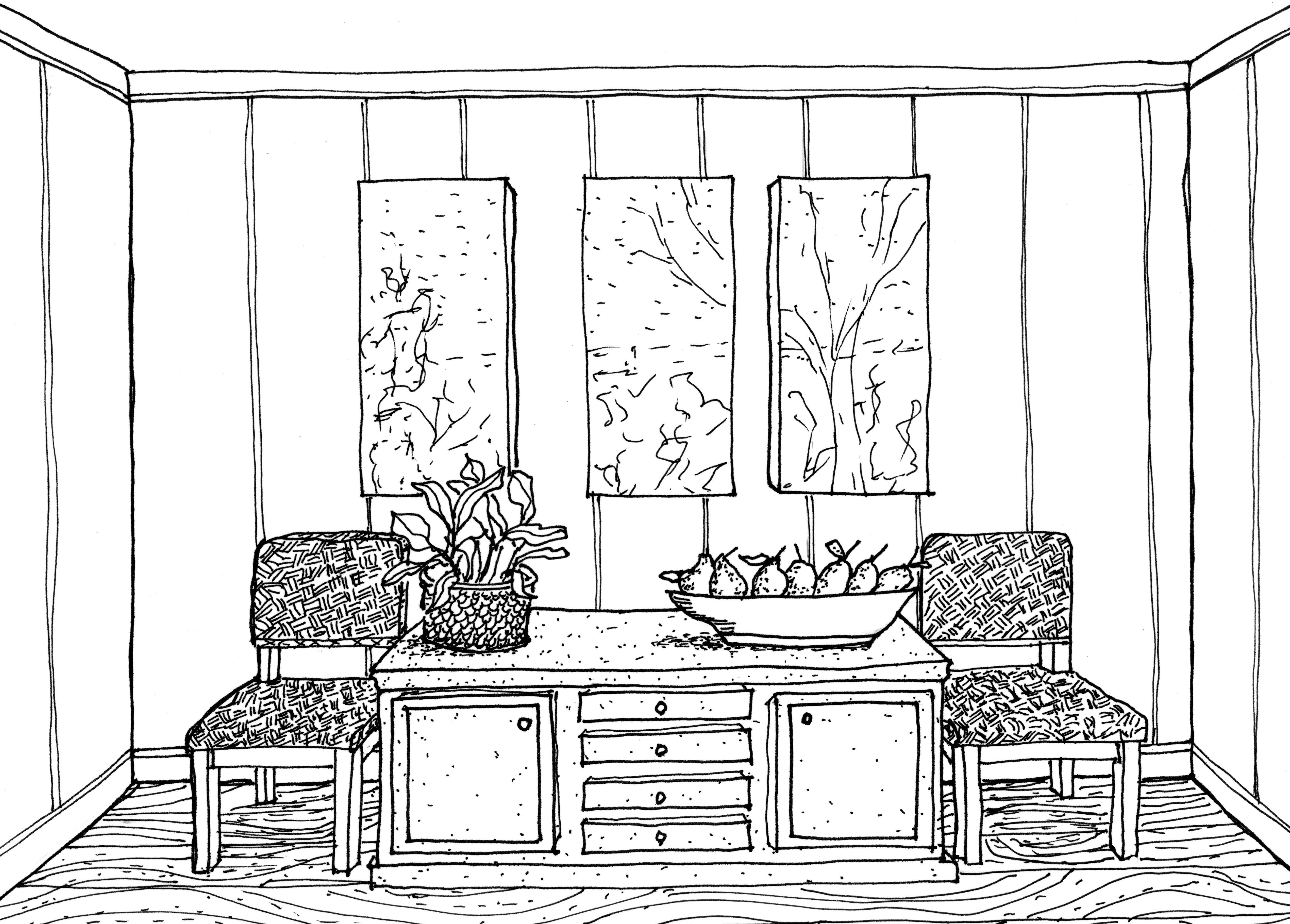 Drawn office one point perspective Interior design interior drawing design