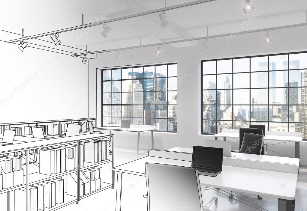 Drawn office open space Open — partly a modern