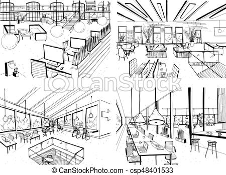 Drawn office open space Drawn hand computers interiors drawn