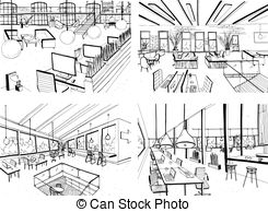 Drawn office open space In of with office hand