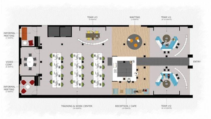 Drawn office open space Coworking Floor Floor Pinterest Plan