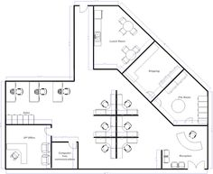 Drawn office open space Layout different office More the