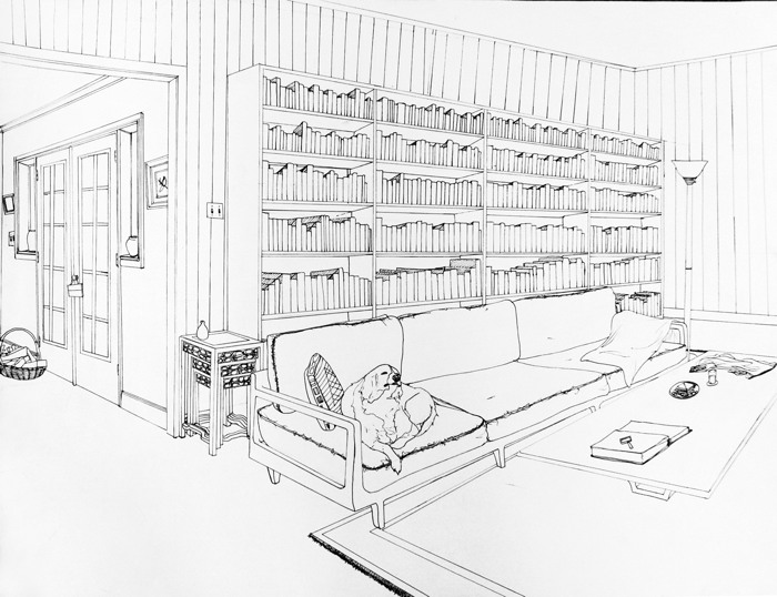 Drawn office perspective drawing Point interior point perspective Perspective