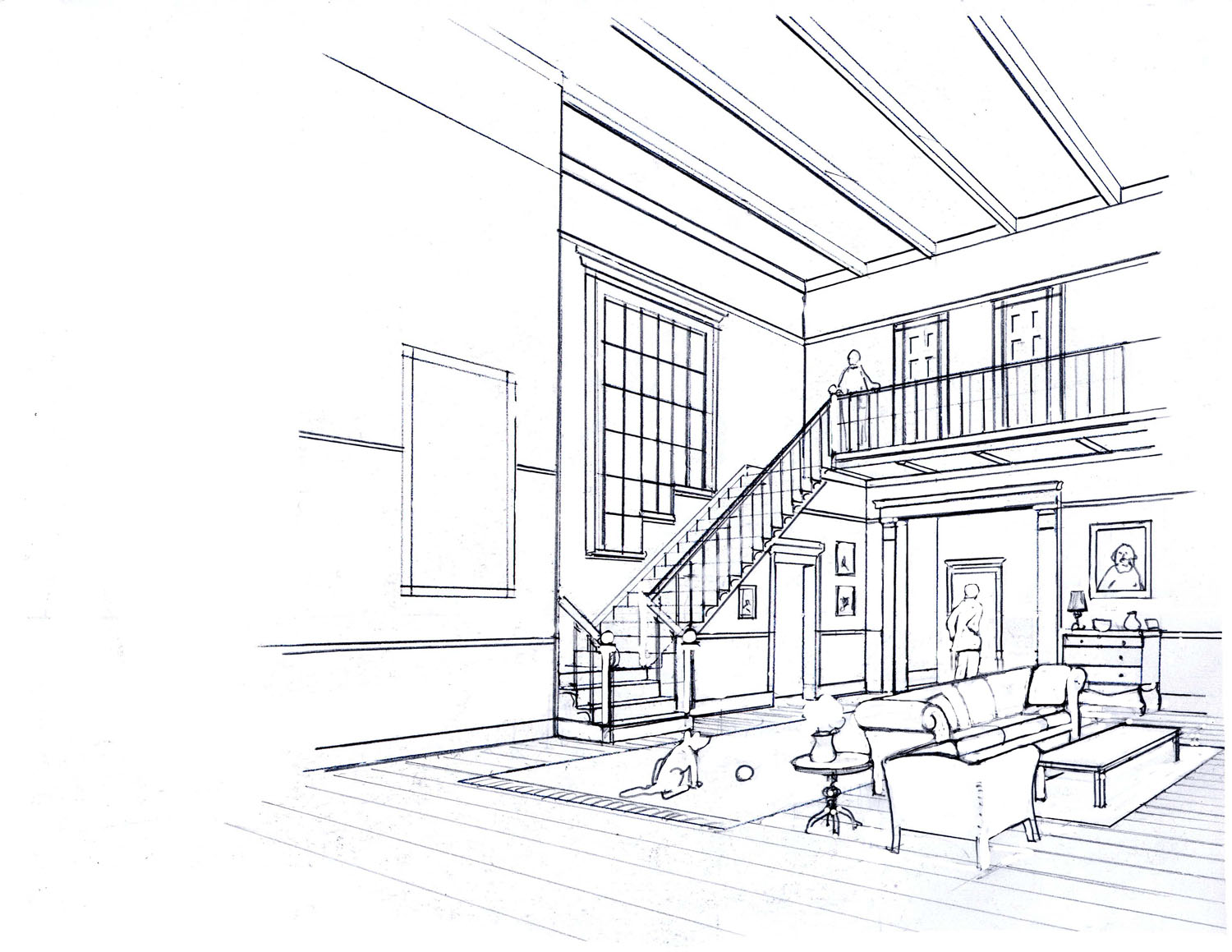 Drawn office perspective drawing Perspective A 3 Drawing: Visual