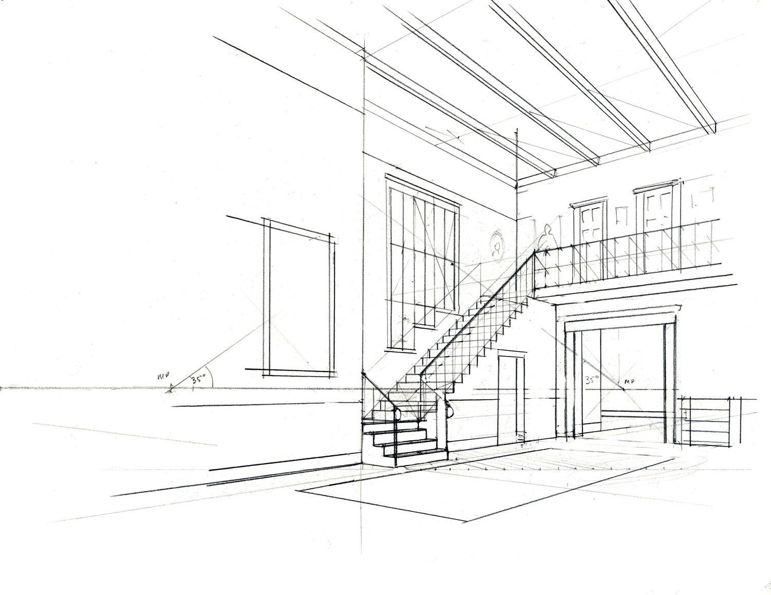 Drawn office perspective drawing Perspective A 2 Drawing: Visual