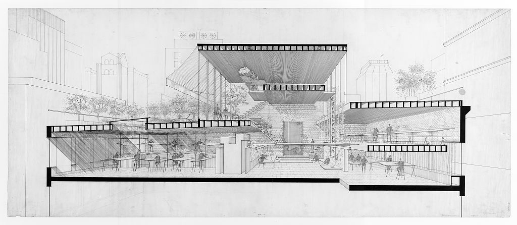 Drawn office perspective drawing Rudolph's – Manhattan Perspective Selection