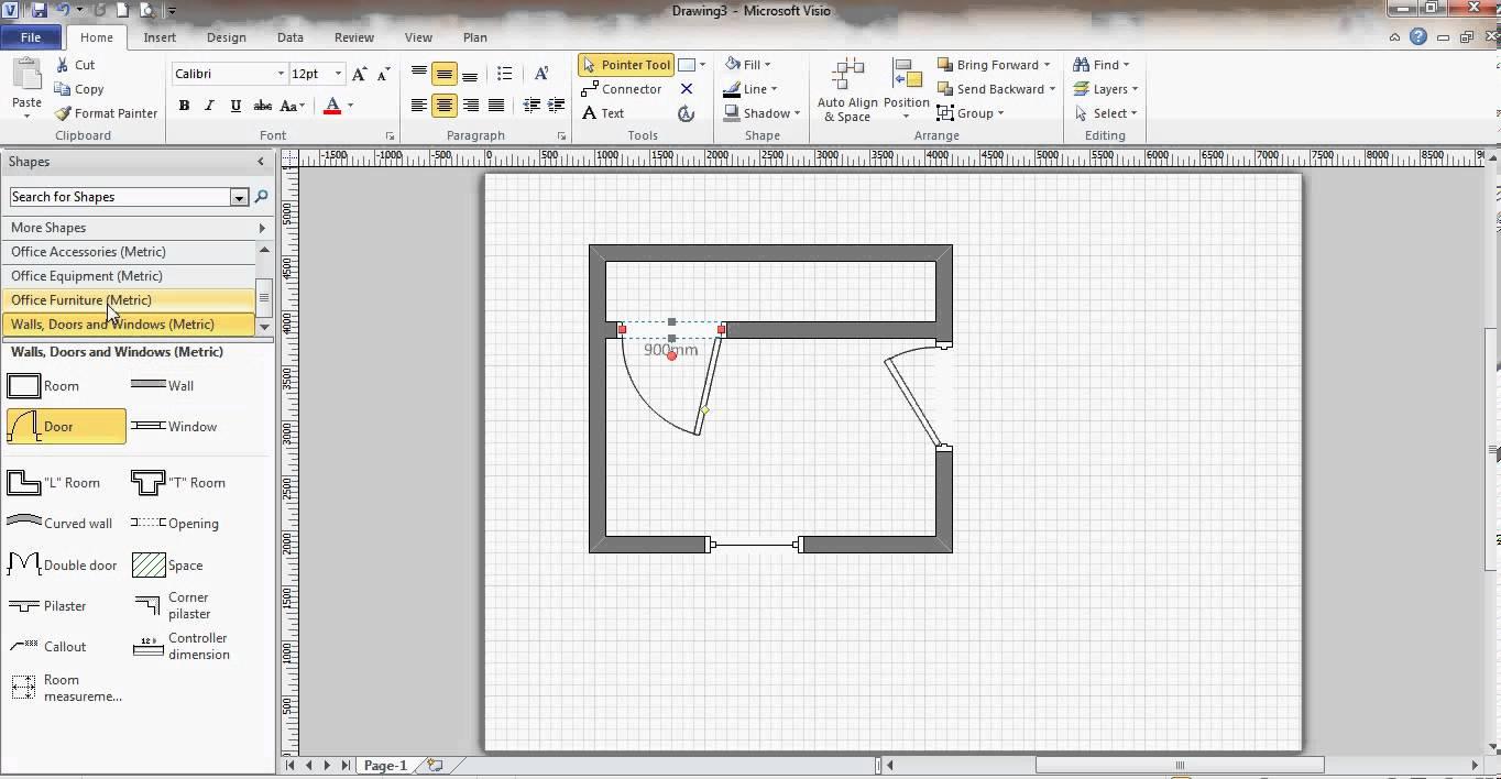 Drawn office plan drawing  Microsoft Floor YouTube Visio