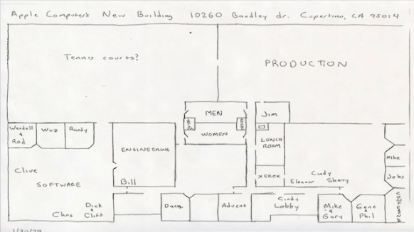 Drawn office plan drawing Steve Hand 70s Floor HQ
